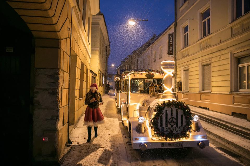Christmas train in the streets of Vilnius Old Town