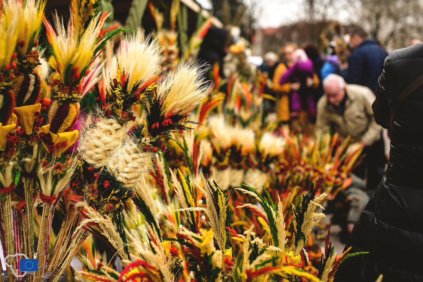 Easter dried flower bouquet at Kaziukas fair in Vilnius