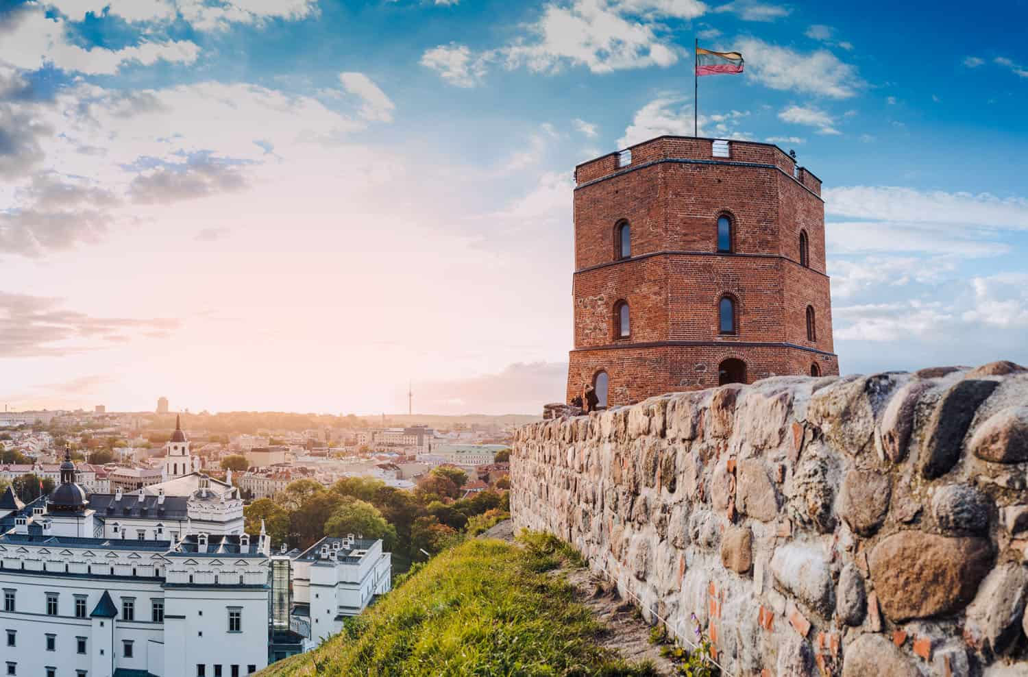Gediminas tower on Gediminas hill - a perfect spot for a panoramic view of Vilnius