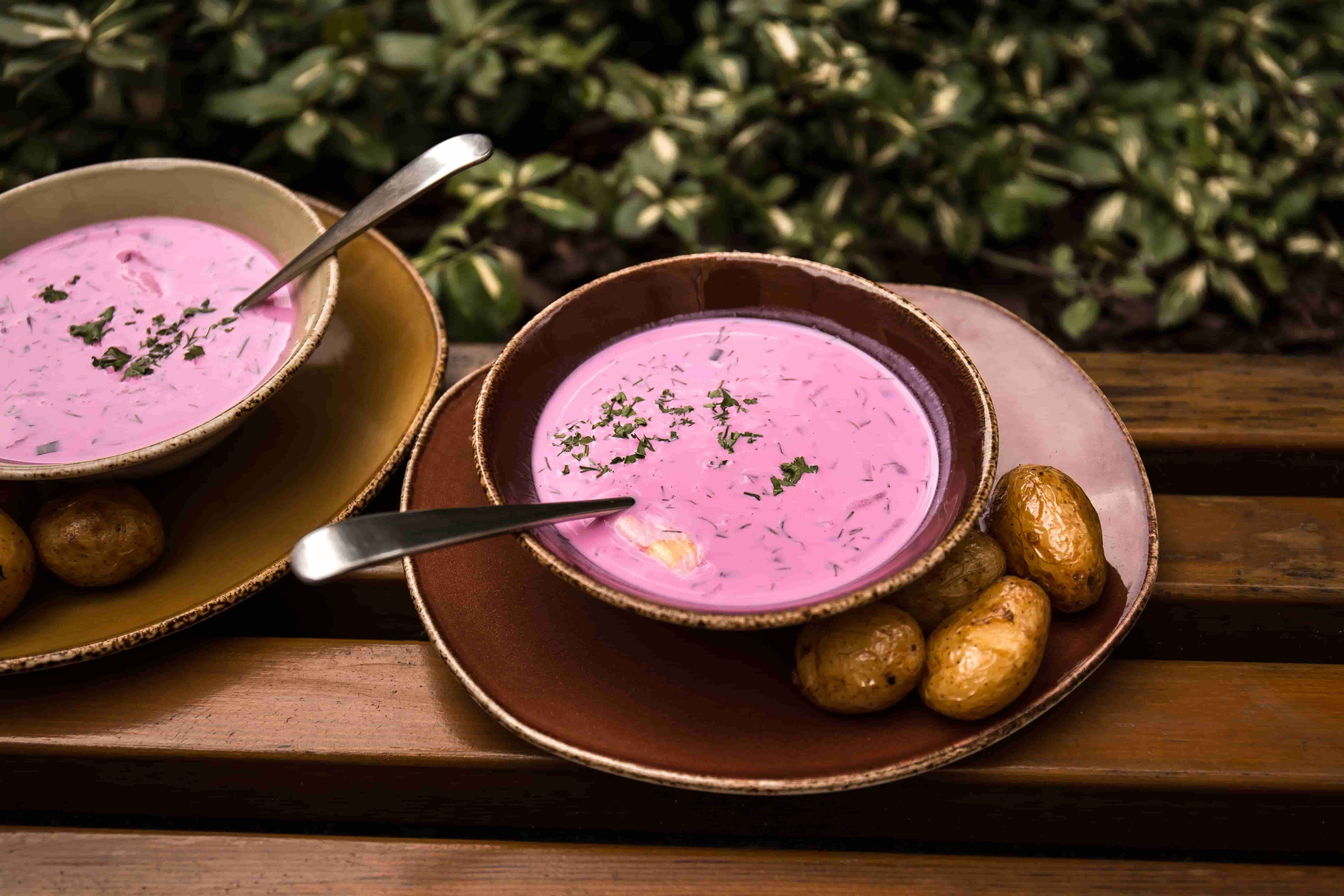 A must try dish in Lithuania - cold beetroot soup aka pink soup