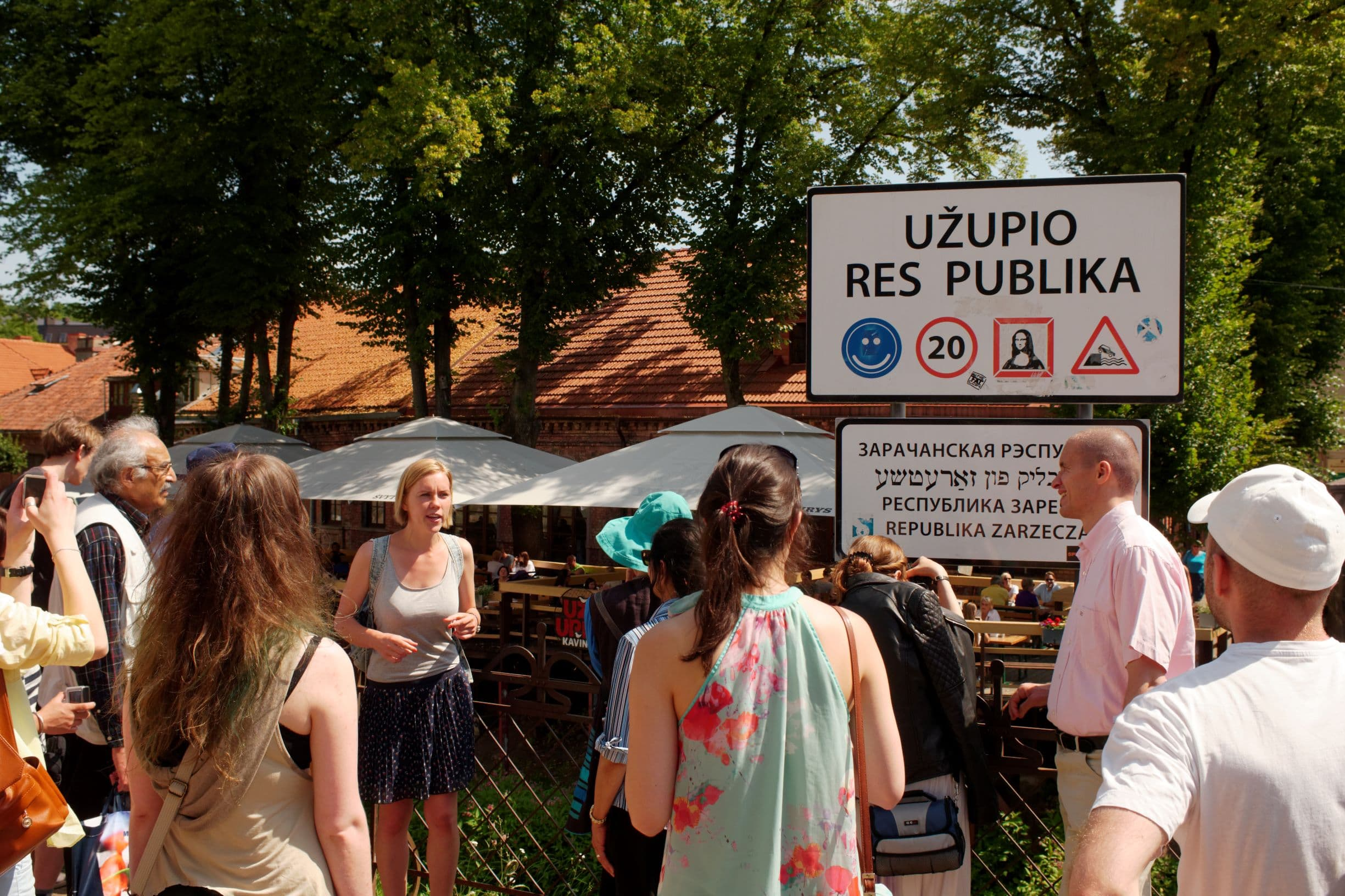 Uzupis neighbourhood to stay in Vilnius - a sign near the entrance