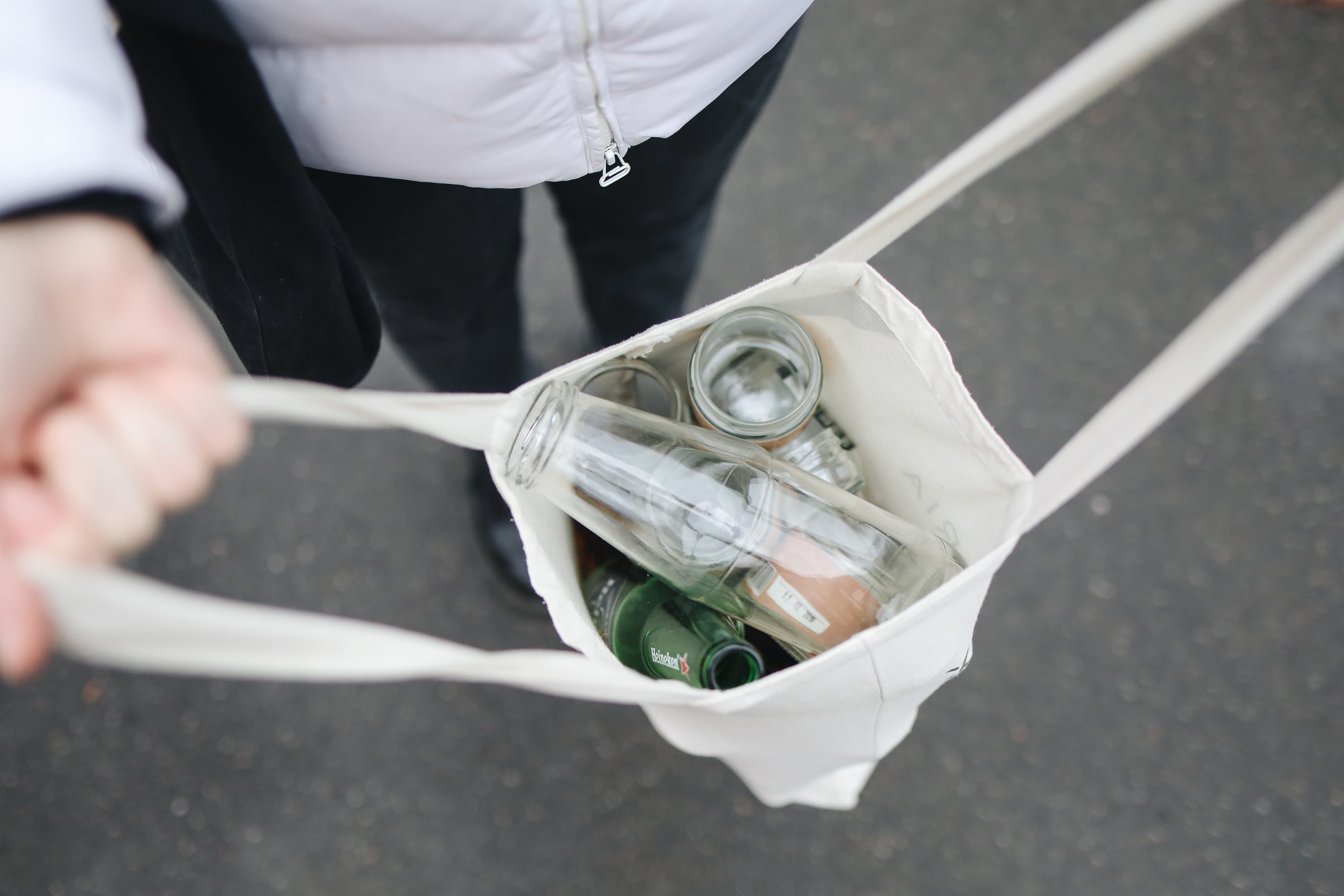 Bag filled with glass bottles