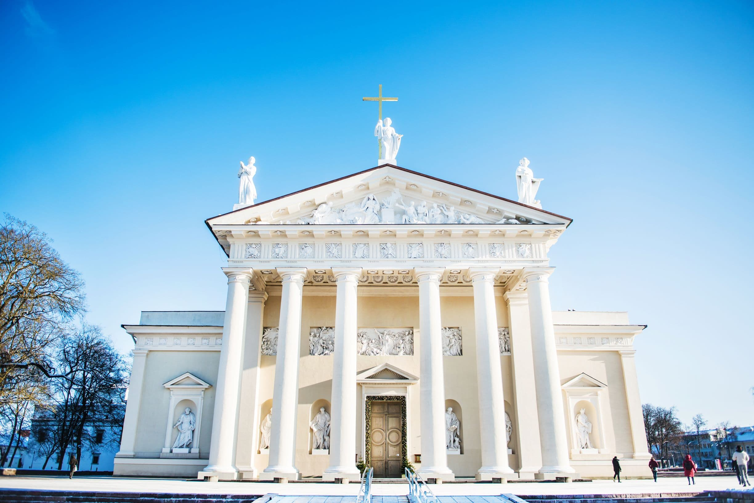 The main entrance to Vilnius Cathedral