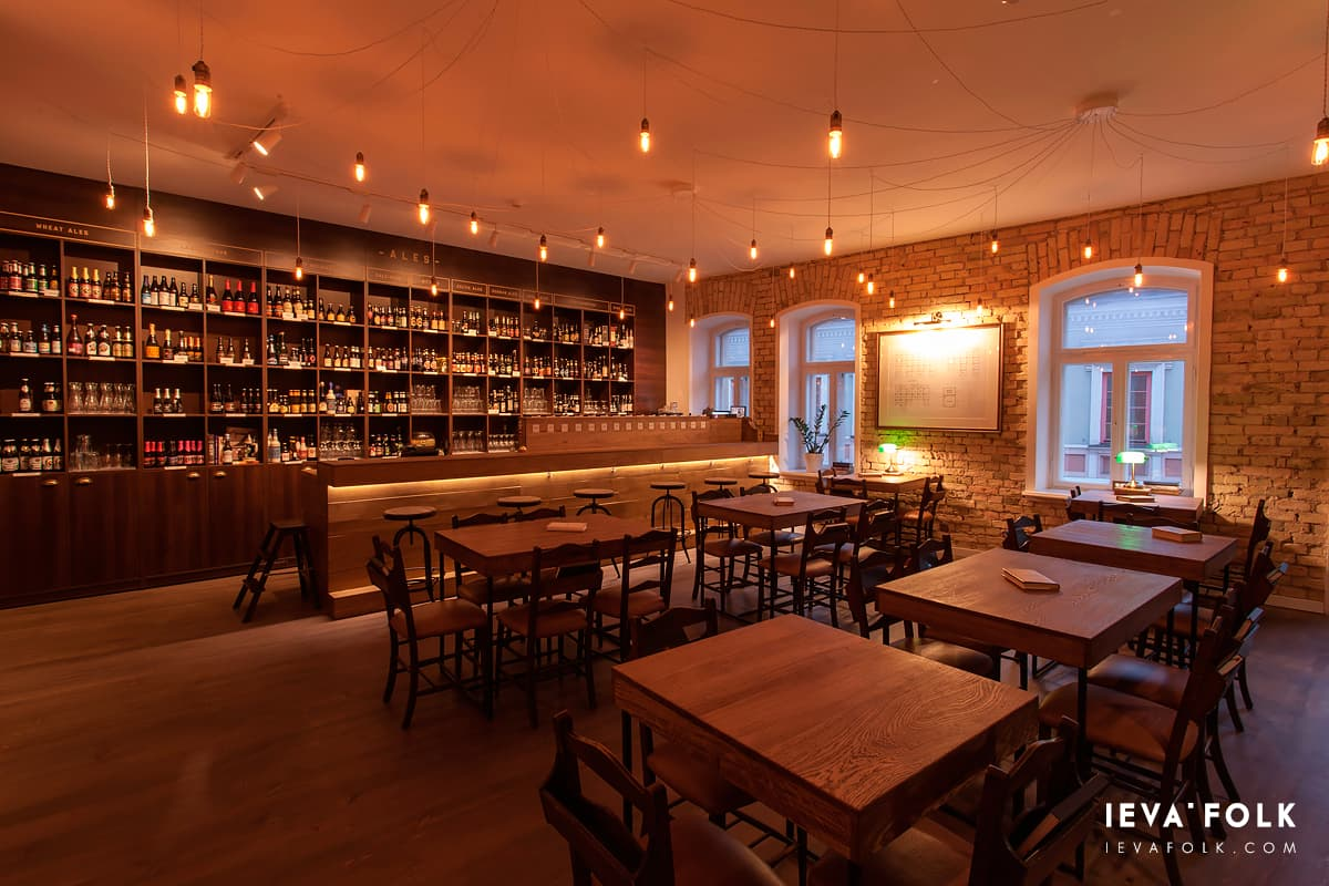 Waiting for the guests at beer library - a popular local beer bar in Vilnius for beer lovers