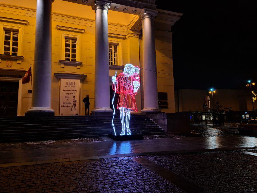 St. Cristopher starting his journey around Vilnius from Vilnius Town Hall square