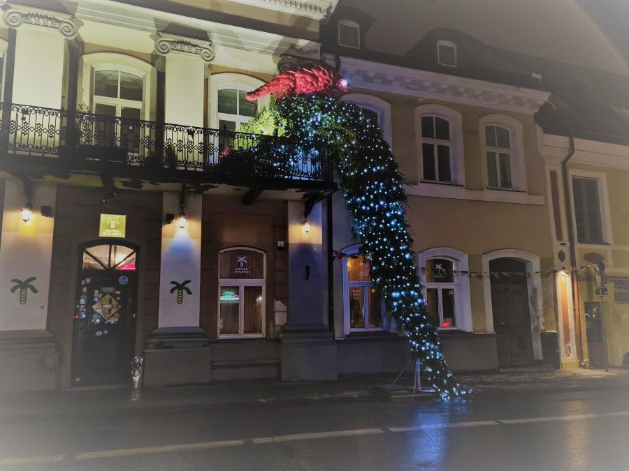 One of the Christmas decorations in Vilnius Old Town balcony