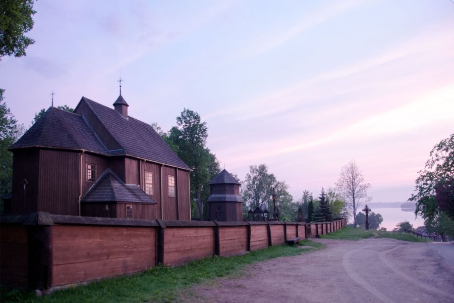 A wooden Palūšė church in Aukštaitija National Park