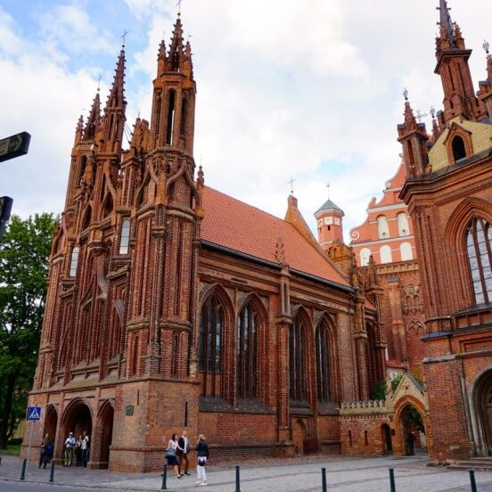 Visiting gothic St. Anne's church during Vilnius free tour