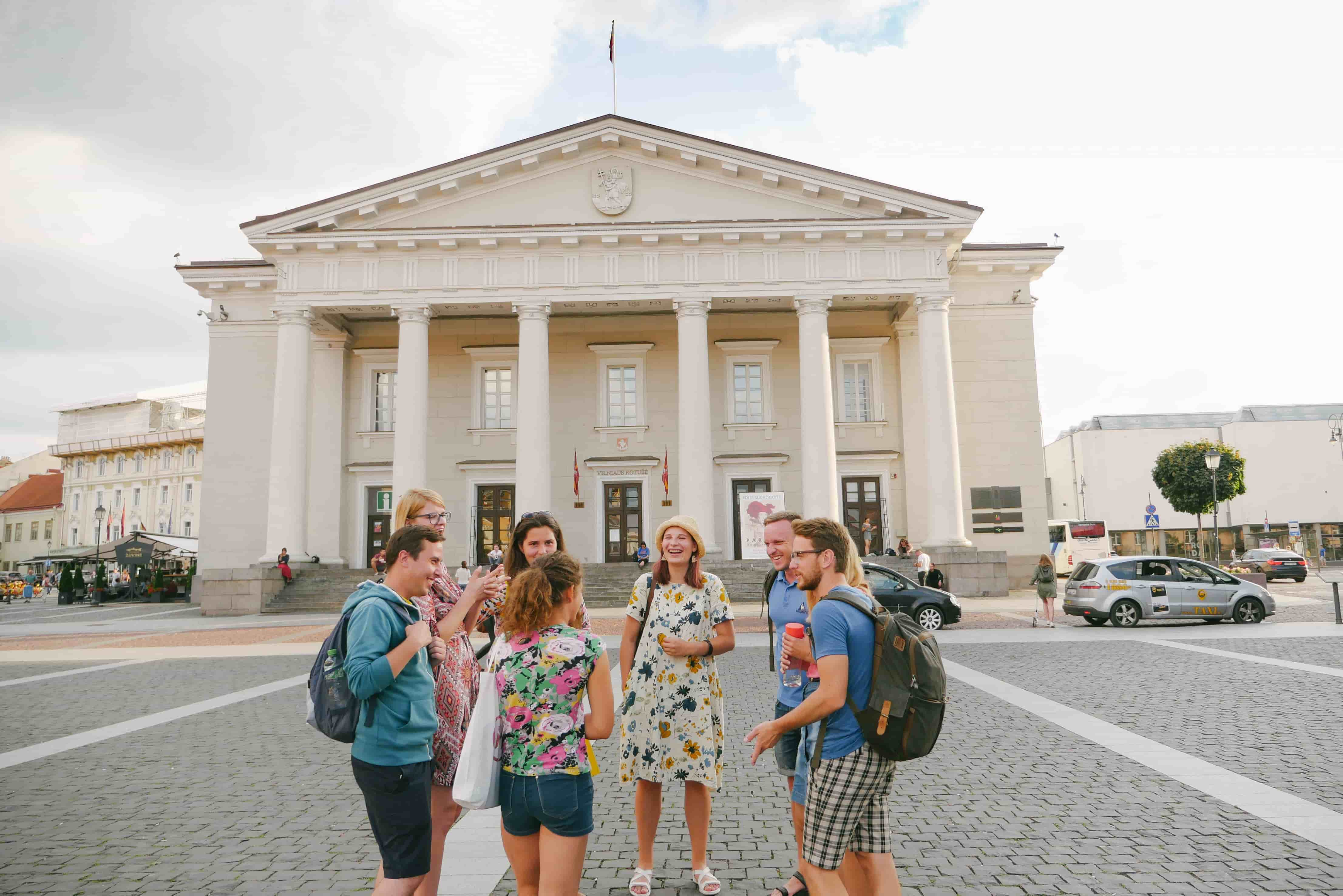 A group on a private Vilnius city tour around Old Town & Uzupis